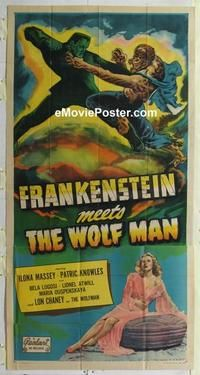 b321 FRANKENSTEIN MEETS THE WOLF MAN three-sheet movie poster R49 Bela Lugosi
