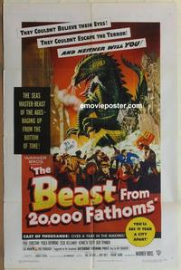 b532 BEAST FROM 20,000 FATHOMS one-sheet movie poster '53 Ray Bradbury