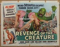 b423 REVENGE OF THE CREATURE style B half-sheet movie poster '55 John Agar