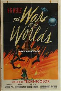 h101 WAR OF THE WORLDS one-sheet movie poster '53 Gene Barry, classic!