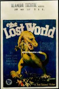b001 LOST WORLD window card movie poster '25 incredible dinosaur image!