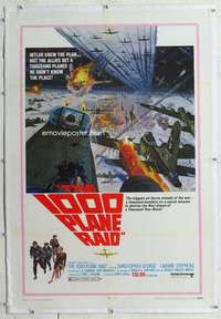 m340 1000 PLANE RAID linen one-sheet movie poster '69 great WWII image!