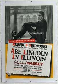 m345 ABE LINCOLN IN ILLINOIS linen one-sheet movie poster '40 Raymond Massey