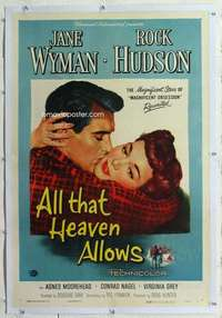 m347 ALL THAT HEAVEN ALLOWS linen one-sheet movie poster '55 Hudson, Wyman