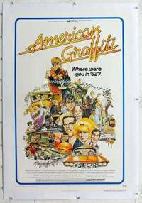 m348 AMERICAN GRAFFITI linen one-sheet movie poster '73 George Lucas