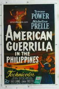 m349 AMERICAN GUERRILLA IN THE PHILIPPINES linen one-sheet movie poster '50