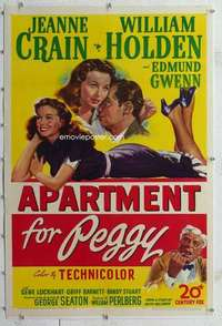 m352 APARTMENT FOR PEGGY linen one-sheet movie poster '48 Crain, Holden
