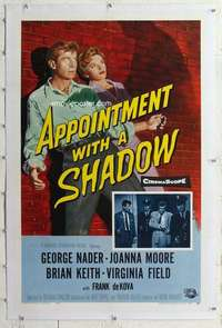 m353 APPOINTMENT WITH A SHADOW linen one-sheet movie poster '58 George Nader