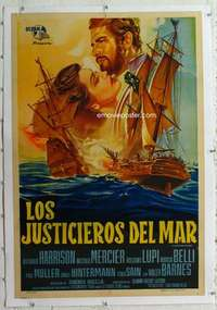 m296 AVENGER OF THE SEVEN SEAS linen Argentinean movie poster '61