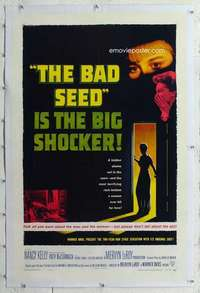 m356 BAD SEED linen one-sheet movie poster '56 bad terrifying little girl!