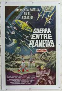 m358 BATTLE IN OUTER SPACE linen Spanish/U.S. one-sheet movie poster '60 Toho