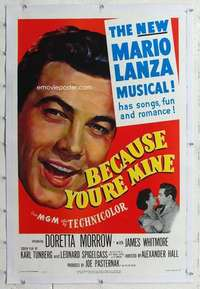 m359 BECAUSE YOU'RE MINE linen one-sheet movie poster '52 Mario Lanza