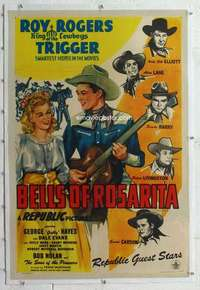 m362 BELLS OF ROSARITA linen one-sheet movie poster '45 Roy Rogers, Evans
