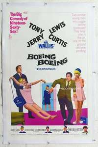 m368 BOEING BOEING linen one-sheet movie poster '65 Tony Curtis, Jerry Lewis