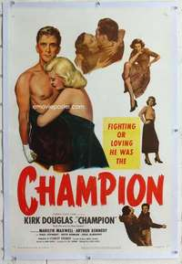 m375 CHAMPION linen one-sheet movie poster '49 Kirk Douglas, boxing!