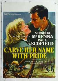 m112 CARVE HER NAME WITH PRIDE linen English one-sheet movie poster '58