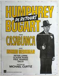 m066 CASABLANCA linen French one-panel movie poster R70s Bogart classic!