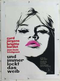 m236 AND GOD CREATED WOMAN linen German movie poster R60s sexy Bardot