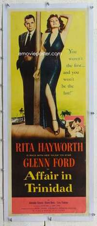 m092 AFFAIR IN TRINIDAD linen insert movie poster '52 Ford, sexy Rita!