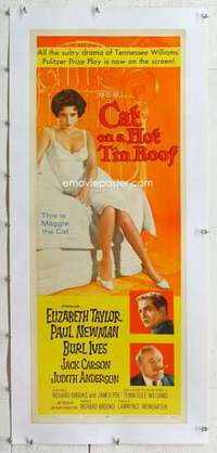 m093 CAT ON A HOT TIN ROOF linen insert movie poster '58 Liz Taylor