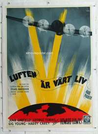 m169 AIR FORCE linen Swedish movie poster '43 cool Aberg bomber art!