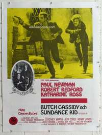 m171 BUTCH CASSIDY & THE SUNDANCE KID linen Swedish movie poster '69