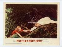s224 NORTH BY NORTHWEST movie lobby card #6 '59 Grant & Saint in peril