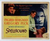 s050 SPELLBOUND title movie lobby card '45 Alfred Hitchcock, Peck, Bergman