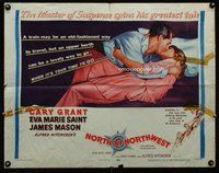 d618 NORTH BY NORTHWEST style B 1/2sh '59 Cary Grant kissing Eva Marie Saint, Alfred Hitchcock classic!