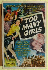 e895 TOO MANY GIRLS one-sheet movie poster '40 Lucy Ball, Desi Arnaz