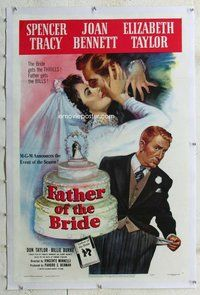 f357 FATHER OF THE BRIDE linen one-sheet movie poster '50 Liz Taylor, Tracy
