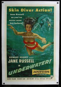 f492 UNDERWATER linen one-sheet movie poster '55 sexy scuba Jane Russell!