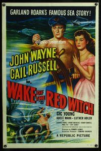 g691 WAKE OF THE RED WITCH 1sh R52 art of barechested John Wayne & Gail Russell at ship's wheel!