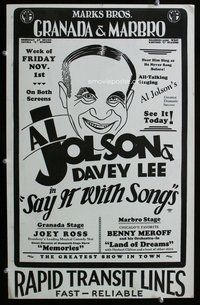 k442 SAY IT WITH SONGS local theater window card movie poster '29 Al Jolson by Alex Gard!