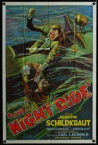 s002 NIGHT RIDE one-sheet movie poster '30 great stone litho water fight!