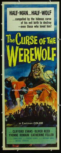 z090 CURSE OF THE WEREWOLF insert movie poster '61 Oliver Reed, Hammer