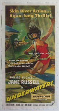 c001 UNDERWATER linen three-sheet movie poster '55 sexy scuba Jane Russell!