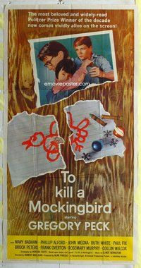 f246 TO KILL A MOCKINGBIRD three-sheet movie poster '63 Gregory Peck classic!