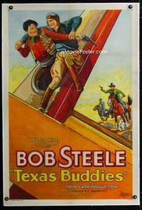 s332 TEXAS BUDDIES linen one-sheet movie poster '32 cowboys & aviators!