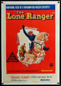 w078 LONE RANGER linen Aust 1sh movie poster '56 Clayton Moore