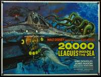 w322 20,000 LEAGUES UNDER THE SEA linen British quad movie poster R76