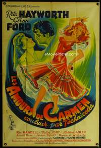 a037 LOVES OF CARMEN French 31x47 movie poster '48 Rita Hayworth