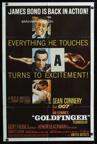 b468 GOLDFINGER one-sheet movie poster '64 Sean Connery as James Bond