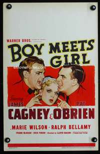 m267 BOY MEETS GIRL window card movie poster '38 James Cagney, Pat O'Brien
