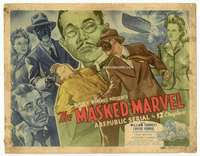 r451 MASKED MARVEL movie title lobby card '43 masked hero serial, cool art!