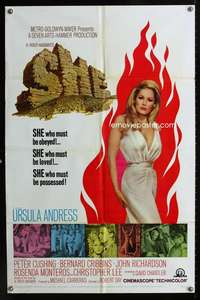 c193 SHE one-sheet movie poster '65 Hammer, super sexy Ursula Andress!