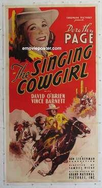 d029 SINGING COWGIRL linen three-sheet movie poster '39 Dorothy Page, Kulz art