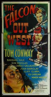 p304 FALCON OUT WEST three-sheet movie poster '44 Tom Conway as The Falcon!