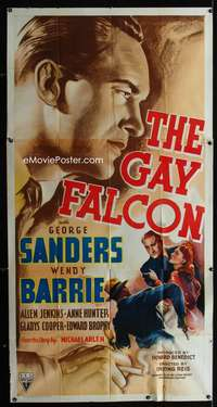 p325 GAY FALCON three-sheet movie poster '41 George Sanders, Wendy Barrie