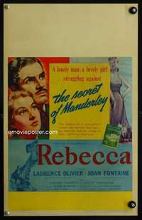 z280 REBECCA window card movie poster '40 Hitchcock, Olivier, Joan Fontaine